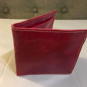 Bags - Glazed Red Leather Billfold Bifold Wallet